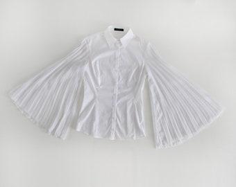 Flavio Castellani Huge Pleated Angel Sleeves Blouse, early 2000