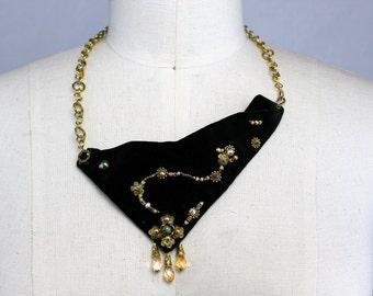 Green Velvet, Beaded Bib Necklace, Renaissance Necklace, Velvet Bib Necklace, Big Bold Chunky, Abstract Jewelry, Bold Statement
