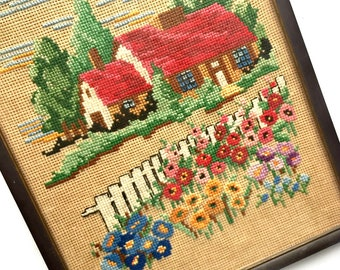 Vintage Cottage Framed Cross Stitch, Vintage Framed Needlework, Country Scene Cross Stitch, Country Cottage Vintage Needlework Wall Decor