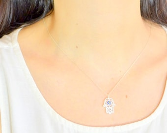 Evileye Hand Jewelry, Nazar Kaballah Necklace, Hand of Fathima, Hanukkah, Arabic, Khamsa, Hamsa Fatma Necklace, Fertility Necklace, Lucky
