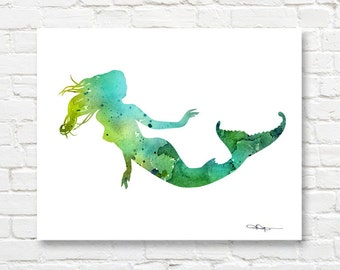 Mermaid Art Print - Abstract Watercolor Painting - Wall Decor