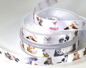 "5/8"" Dog or Cat Satin Ribbon"