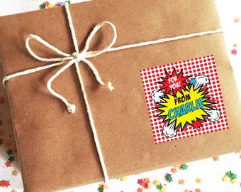 Superhero Birthday Labels, Superhero Birthday Stickers, Personalized Birthday Labels, Superhero Gift Tags, Superhero Birthday Tags