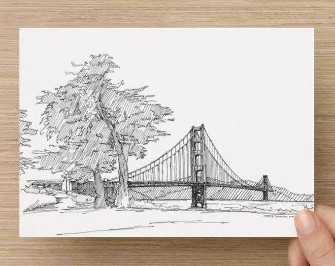 Ink sketch of the Golden Gate Bridge in San Francisco, California - Drawing, Art, Print, Handmade, 5x7, 8x10, Bay, West Coast, Tree