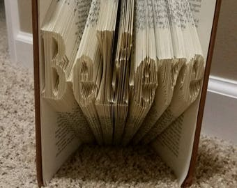 Believe book folding - Bookami - custom word - DIY Gift