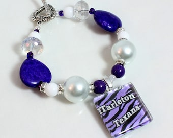 Team Spirit Bracelet, School Colors, School Jewelry, Spirit Slogan, Your Choice of Schools
