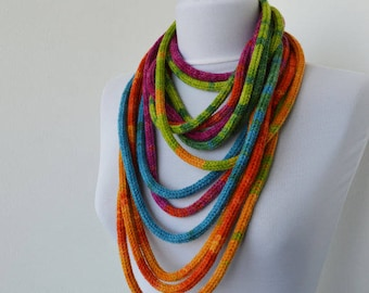 Knit Scarf Necklace, Multi strand necklace, Loop scarflette, Infinity scarf, Knitted scarflette,in blue,pink,green,orange,yellow,purple E154