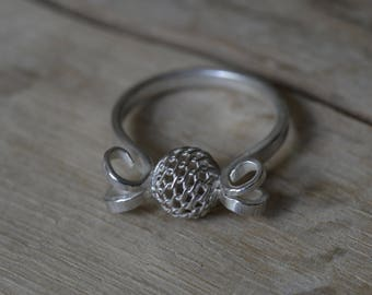 Sterling Silver Sphere Ring