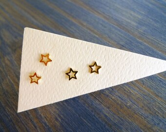 14K Gold Star Stud Earring. Eco Friendly Tiny Stud. Unisex Gold Star Stud. Single Solid Gold Star Earring. Dainty Recycled. Limited Edition.