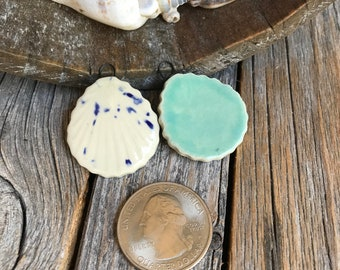Pair of Ceramic Seashell Earring Findings | DIY Ceramic Beach Jewelry | DIY Shell Necklace Supply | Nautical Charm | Shell Charms