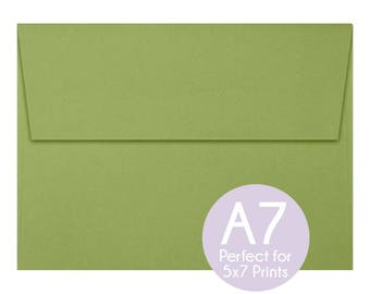 Avocado Green - A7 5x7 Envelopes - 5x7 Invitation Envelopes, Perfect for 5x7 Photo Cards and Invitations, A7 Wedding Envelopes - Set of 10