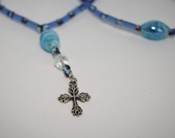 Prayer Beads - Anglican, Protestant - Glass, Cross, Rosary