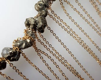Liminal Space Pyrite and Brass Long Collar Necklace