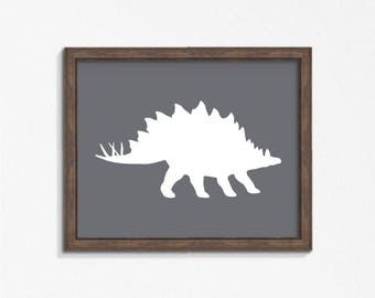 Gray Stegosaurus Dinosaur Print, Slate Dark Gray Horizontal Wall Art, Nursery Art, Instant Download, DIY, Printable