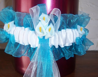 turquoise and white satin and organza garter
