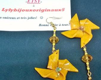 """Earrings """"Windmill"""" yellow"""