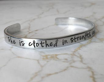 Proverbs 31:25 / She Is Clothed In Strength and Dignity / Scripture Bracelet / Gift for Mom / Gift for Wife / Christian Gift / Gift For Her