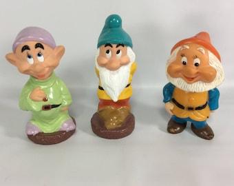 Walt Disney Snow White Dwarfs Set of 3 China Hong Kong Vintage Dopey Happy Bash