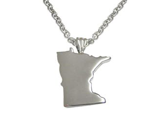 Minnesota State Map Shape Pendant Necklace