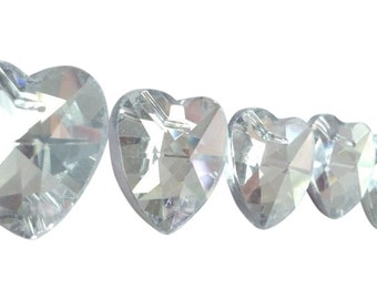 5 Silver 28mm Faceted Heart Chandelier Crystals