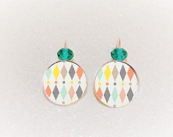Earrings sleepers silver cabochon pastel Argyle geometric