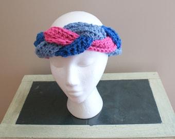 Womens Fashion Hairband, Braided Headband, Earwarmer Headband, Pink Blue Headband, Turban Twist Headband, Yoga Hairband, Ski Headband
