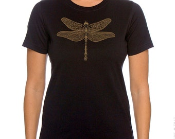 Dragonfly Women's Plus size Black T-shirt, Gold Print Steampunk, Jeweled Dragonfly Screenprint, Gift for Her, Artsy T-shirt