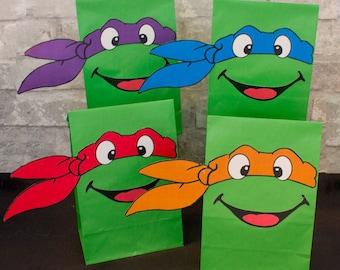 Teenage Mutant Ninja Turtles Party Favor Favor Bags Printables -- DIGITAL -- TMNT Bags in 15 Colors!