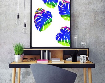 Leaf Wall art print Tropical leaf print botanical print tropical decor minimalist modern printable poster photography print tropical leaves