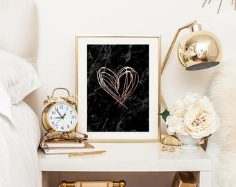 rose gold and marble print, marble and rose gold print, copper marble print, marble poster prints, printable wall art, downloadable prints