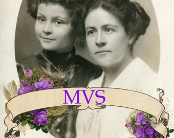 Sweet Mother and Daughter Vintage Photo Scan MVS Exclusive
