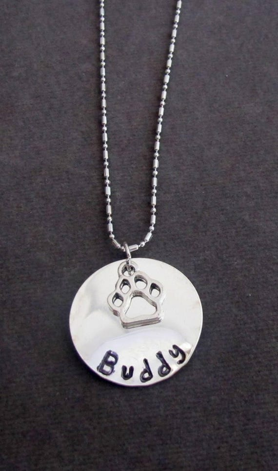 Personalized Dog Paw Necklace,Custom Dog Lover Jewelry, Pet Lover Gift,Hand Stamped Dog or Cat Name Necklace Jewelry, Free Shipping In USA