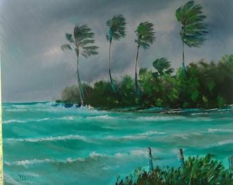 Original oil Painting Florida Landscape Art Storm Surge Hurricane Irma 24x20 unframed