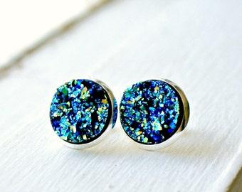 druzy stud earrings, post earrings, boho jewelry, rocks earrings, gift for her, under 10, girlfriend gift