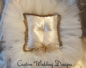 Golden Champagne and Ivory Ring Bearer Pillow.  Other Colors avaliable. In notes/Comments to seller just request your colors.