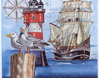 4 Decoupage Napkins | Seagulls with Lighthouse and Tall Ship | Seagull Napkins | Ship Napkins | Sea Napkins | Paper Napkins for Decoupage