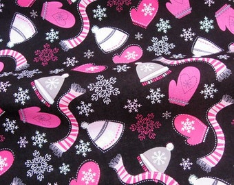 C128 - 1 meter Cotton Fabric - Scarves, hats, gloves and snowflower (135cm width)