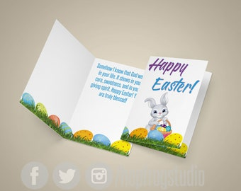 "Greeting Card - 8.5""x11"" Half Fold - EASTER - OUTSIDE-Happy Easter - INSIDE-Inspirational Message"