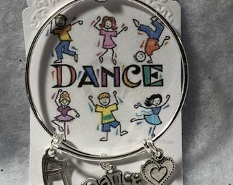 Little Girls Dance Theme Wired Bangle Charm Bracelet Free Shipping