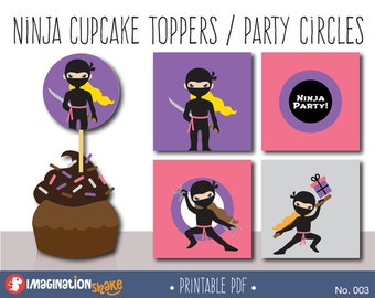 Ninja Birthday Party Cupcake Toppers Party Circles PRINTABLE / Party Printables / Black Pink Ninjas Decorations Girl Birthday Set / No. 003