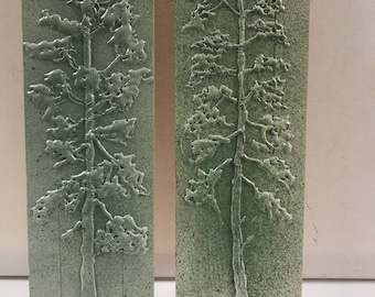 Two in a set pine trees, pine trees, wall decor, unique gift, new home, outdoor person, tree art, hot melt glue art,