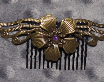 Bronze Tone Flower with Wings Hair Comb with Purple Center Embellishment