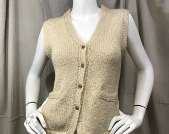 Knit Vest Vintage Off-White Button Down Sweater