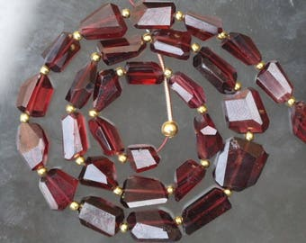 28 piece Natural gemstone faceted GARNET nugget Beads Size 6 -- 12 mm approx