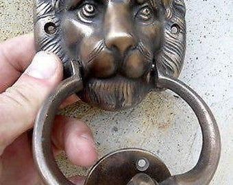 LION Head Heavy Front Door Knocker Solid Brass ...