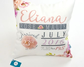Personalized Floral Birth Stat Pillow; Birth Announcement, pillow cover, present, baby gift, nursery pillow, newborn, throw, cushion cover