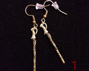 Bronze Magic Wand Earrings