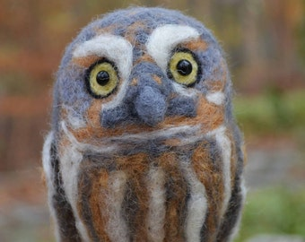 Mr. Elf Owl, needle felted bird sculpture