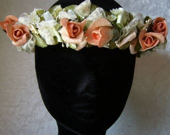 Fabric flower bridal Crown