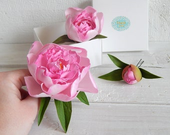 Pink peony flower hair pins Bridal flower hair piece Real touch flower Peony wedding hairpiece Pink floral headpiece Bridesmaid flower gift